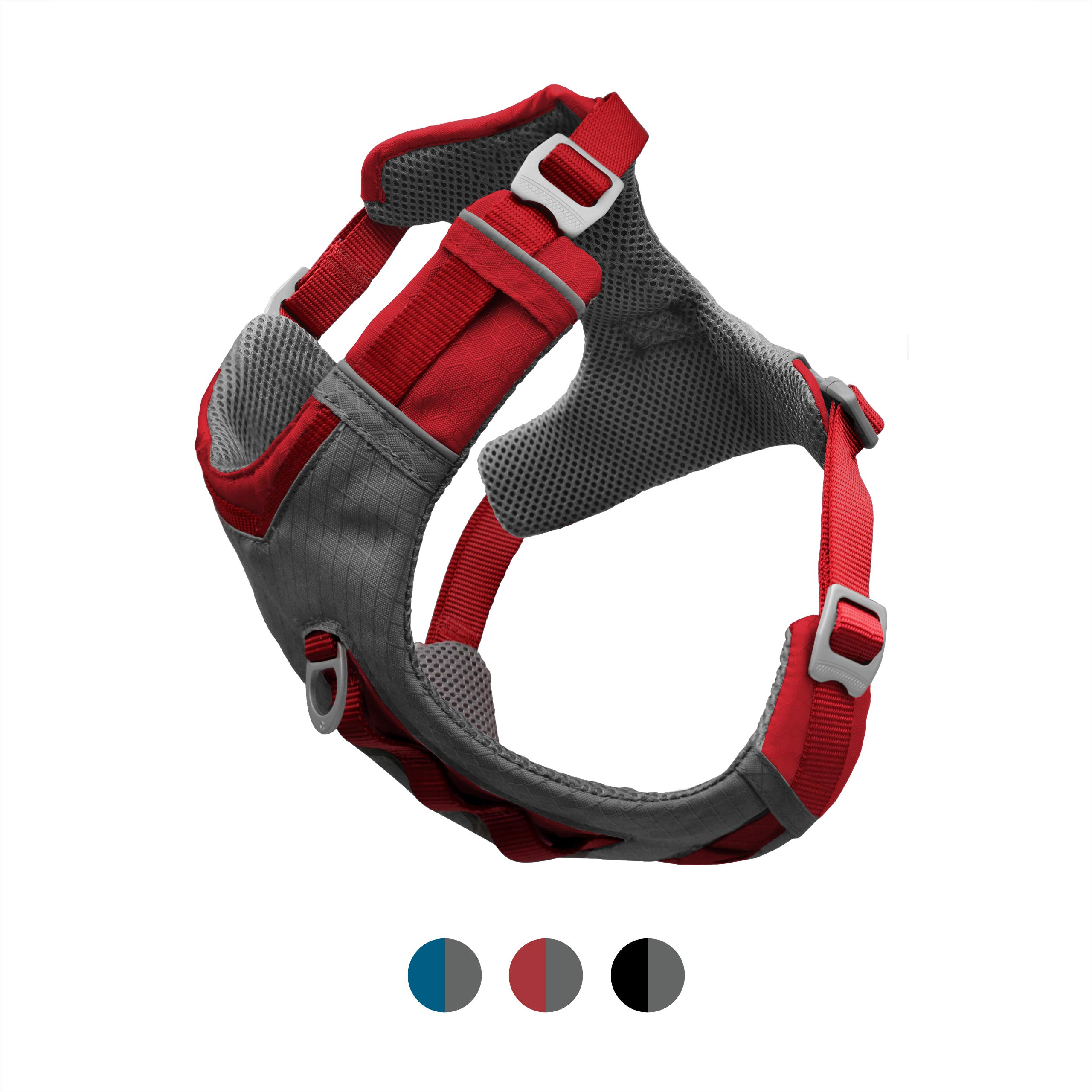 Kurgo Dog Harness for Large, Medium & Small Dogs | Reflective Harness for Running, Walking & Hiking | Everyday Adventure Pet Journey Air Style | Red/Grey | Large