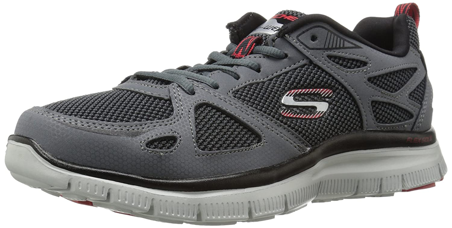 Skechers Flex Advantage First Team, Sneakers Basses Homme - Gris - Gris Bitume, 41