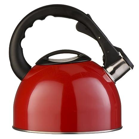 Premier Housewares Whistling Kettle Red 2.5 L Kettle Stainless Stee 25ltr