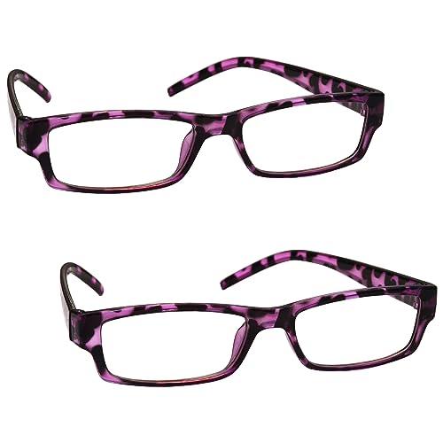 L'azienda Occhiali Da Lettura Verde Viola Tartaruga 2 Pacco Donna Signora UVR2PK009