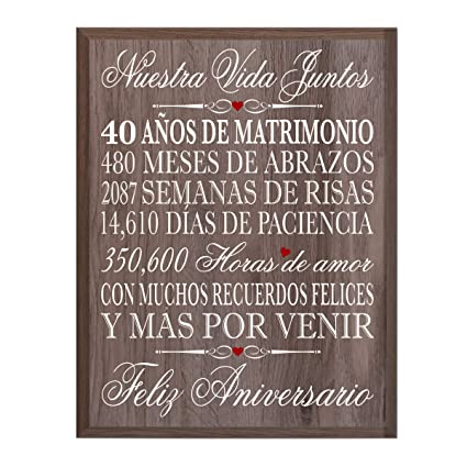 40th Wedding Anniversary Gifts.Amazon Com Lifesong Milestones Spanish 40th Wedding