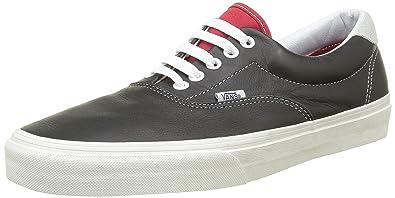 vans era 59 black. vans unisex vintage sport era 59 black/ racing red sneaker - 6.5 black