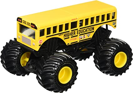 Amazon Com Hot Wheels Monster Jam Higher Education School Bus 1 24 Scale Toys Games