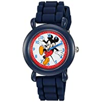 Boys' Mickey Mouse Analog-Quartz Watch with Silicone Strap, Blue, 16 (Model: WDS000012)