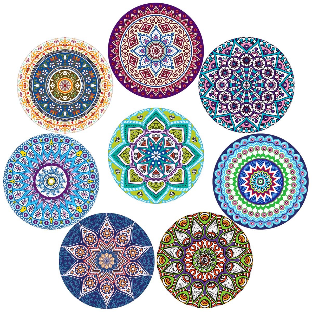 Coasters for Drinks,Absorbent Ceramic Stone with Cork Backing Mandala Style Coaster, Suitable for Kinds of Cups and Mugs,Protect Your Furniture from Spills Scratches Water Rings and Damage, Set of 8