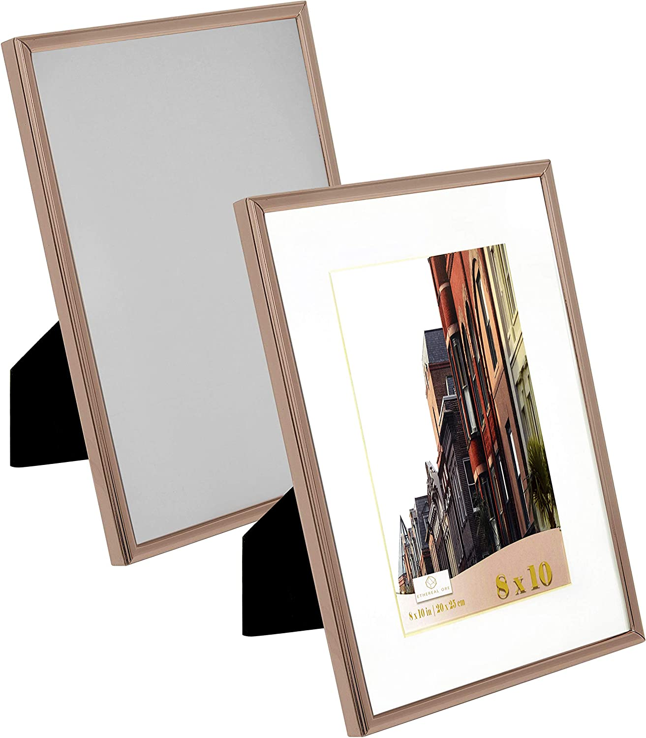 Ethereal Ore, 8x10 Rose Gold Picture Frames (2 Pack, Rose Gold), 8x10 Rose Gold Frame with White Mat, Stainless Steel Rose Gold Decor Wall Mount or Desk Top Rose Gold Decorations