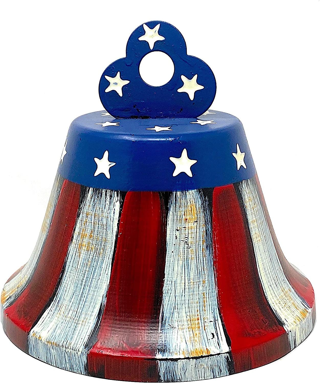 "Patriotic Bell Americana Hanging Tabletop Counter Shelf Ornament Red White & Blue 6"" x 6.5"""