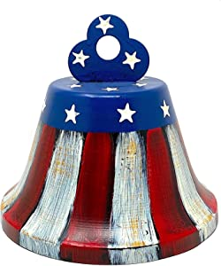 """Patriotic Bell Americana Hanging Tabletop Counter Shelf Ornament Red White & Blue 6"""" x 6.5"""""""