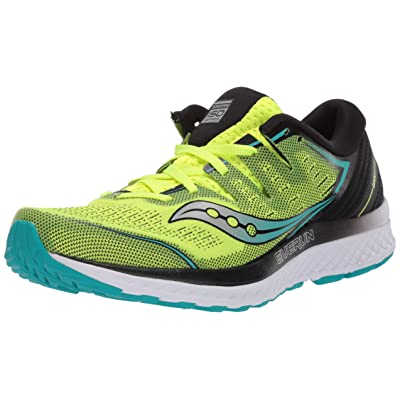 Saucony Men's Guide ISO 2 Running Shoe, Citron/Black, 10 M US | Road Running