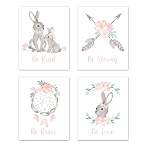 Sweet Jojo Designs Blush Pink and Grey Woodland Boho Dream Catcher Arrow Wall Art Prints Room Decor for Baby, Nursery, and Kids for Gray Bunny Floral Collection - Set of 4 - Watercolor Rose Flower