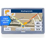 GUKONIC Basic 7 Zoll Auto GPS mit 2017 Version Europa UK Karten Sat Nav SpeedCam Lane Assistance und Free Lifetime Updates