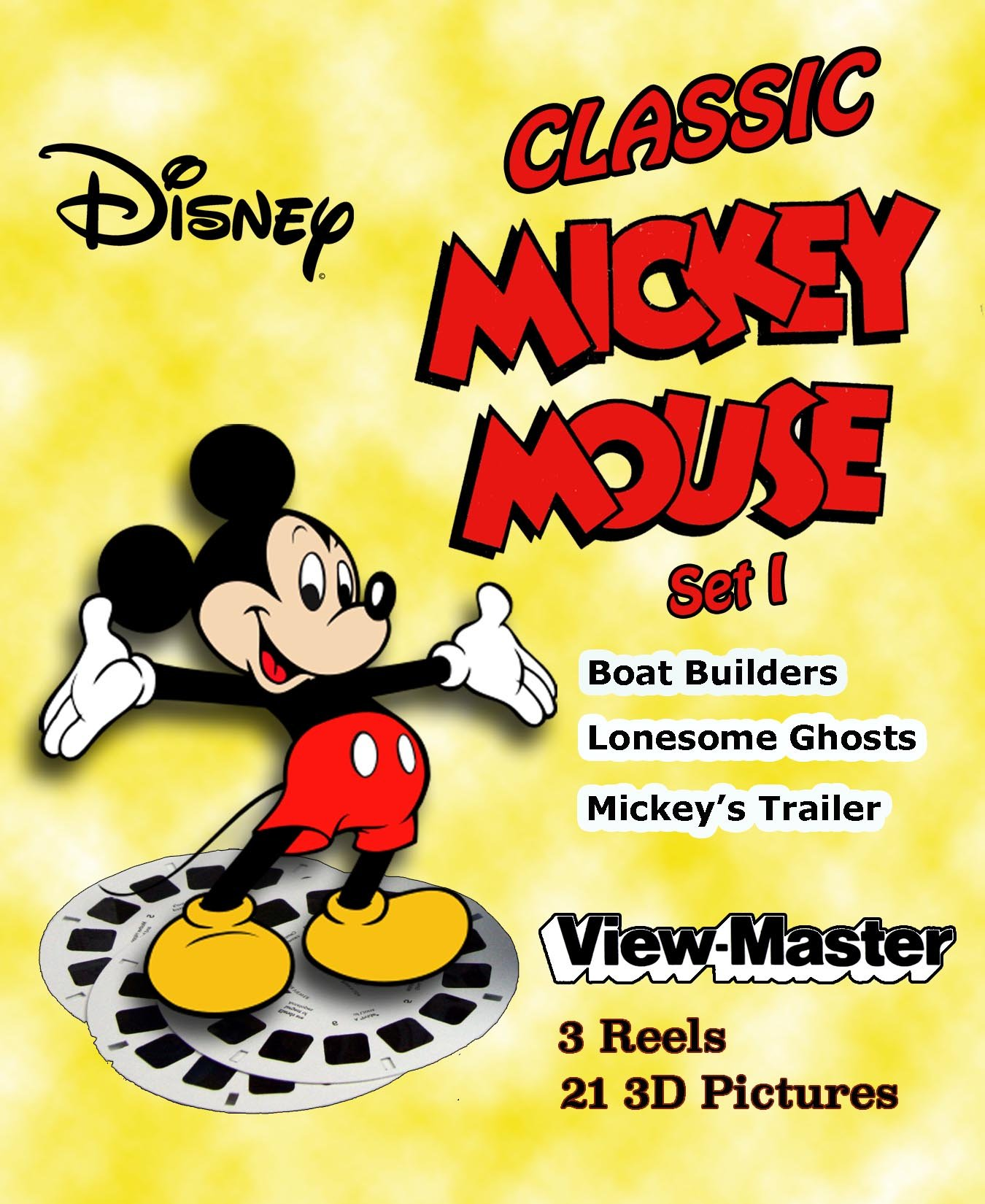 MICKEY MOUSE - Set 1 - Disney's Classic ViewMaster 3 Reels - 3 Stories by 3Dstereo ViewMaster (Image #1)