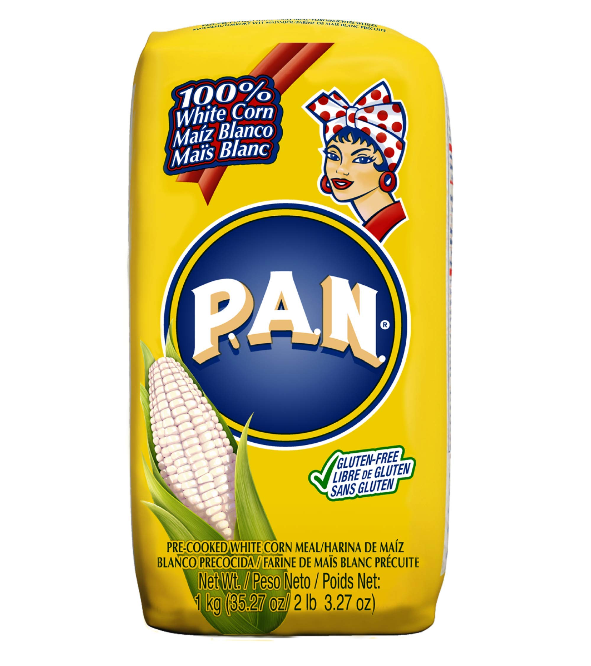 P.A.N. White Corn Meal - Pre-cooked Gluten Free and Kosher Flour for Arepas, 1 Kilogram (35 Ounces / 2 Pounds 3.3 Ounces)
