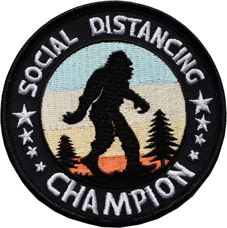 ETDesign #E05161 Bigfoot Social Distancing Champion Applique Patch,COVID-19 Patch-3.5 by 3.5