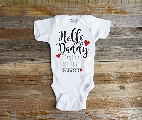 acc7ed0ef Image Unavailable. Image not available for. Color: Hello Daddy I Can't wait  to meet you onesie Baby Reveal Surprise pregnancy announcement