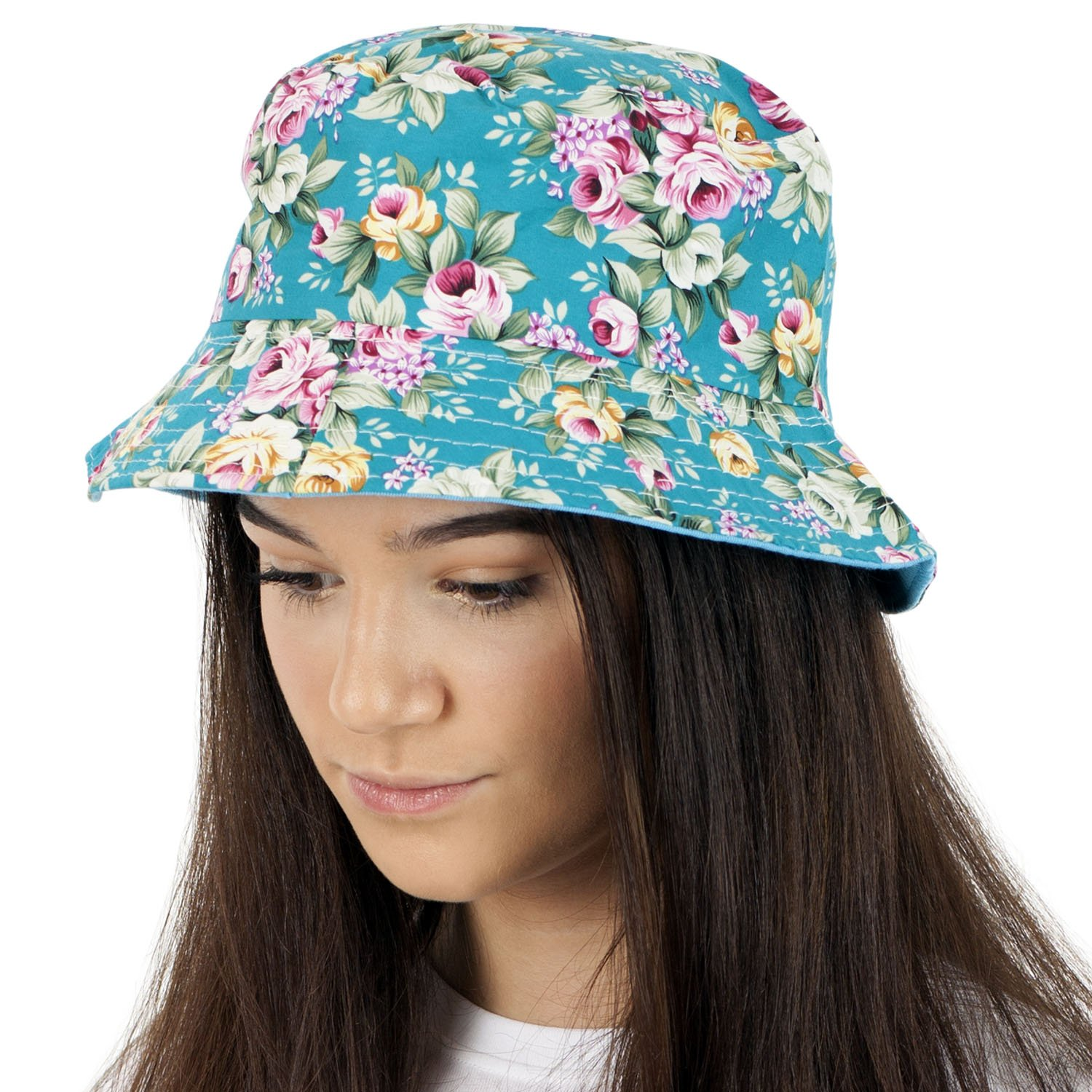 85cbf45fb7eb0f TOSKATOK UPF 50+ Ladies Reversible Floral Cotton Bush Bucket Sun Hat  product image