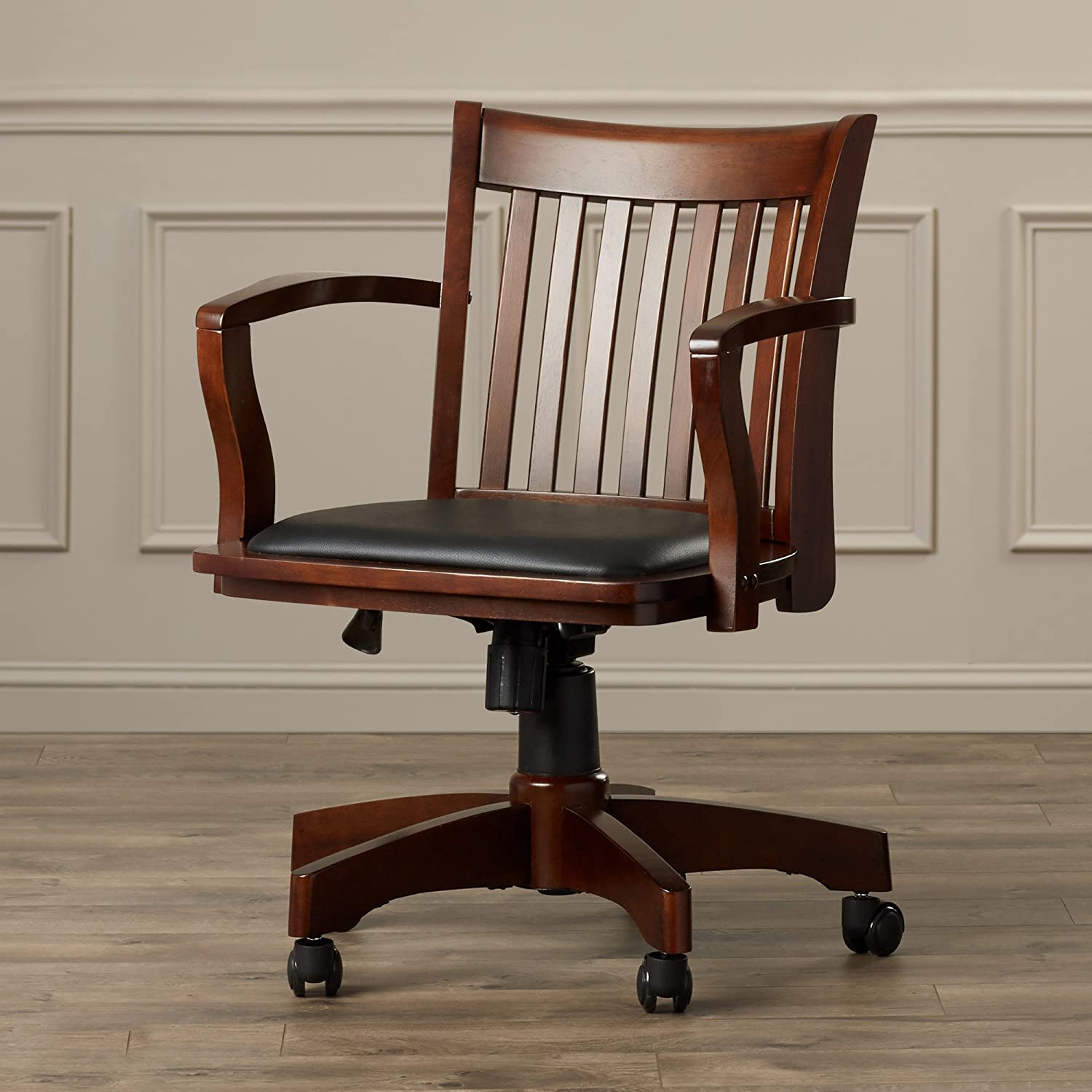Amazon com wood bankers desk chair with arms adjustable height tilt control swivel seat and dual casters faux leather upholstered seat espresso