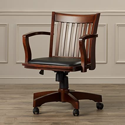 reputable site 02d1e 74edf Amazon.com: Wood Bankers Desk Chair With Arms - Adjustable ...