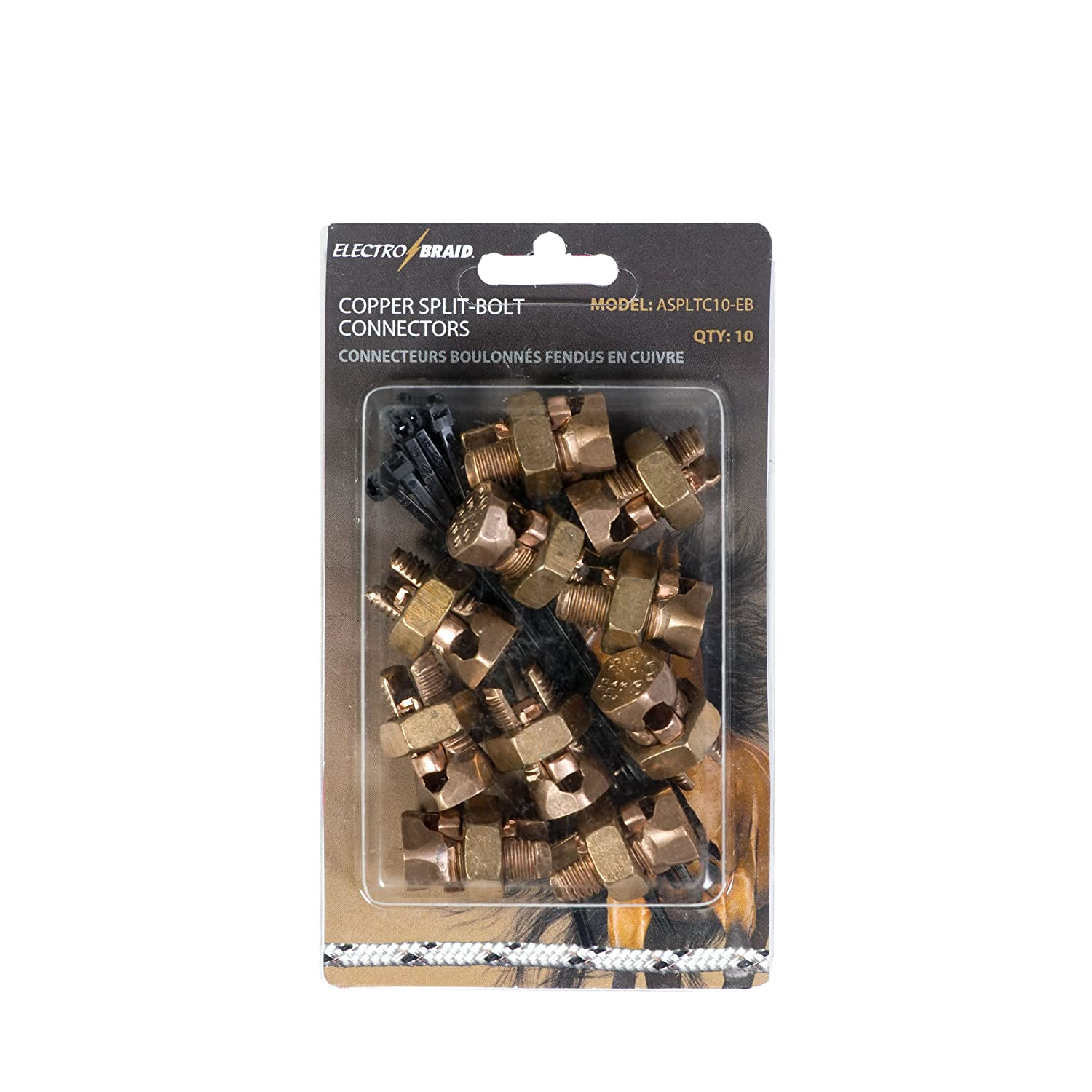 ElectroBraid ASPLTC10-EB Electric Fence Copper Split Bolt Connector (Pack of 10)