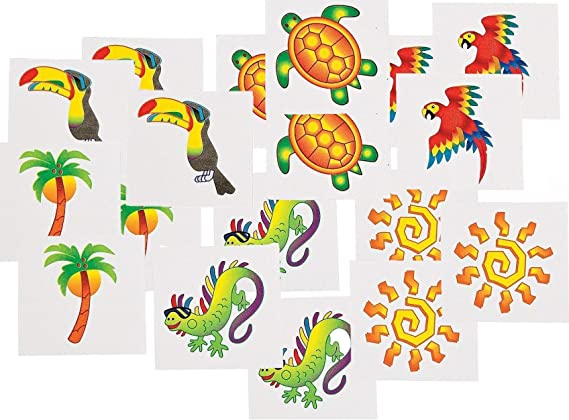 Tropical Tattoos 6 Dozen BULK Fun Express 3L-34-1839