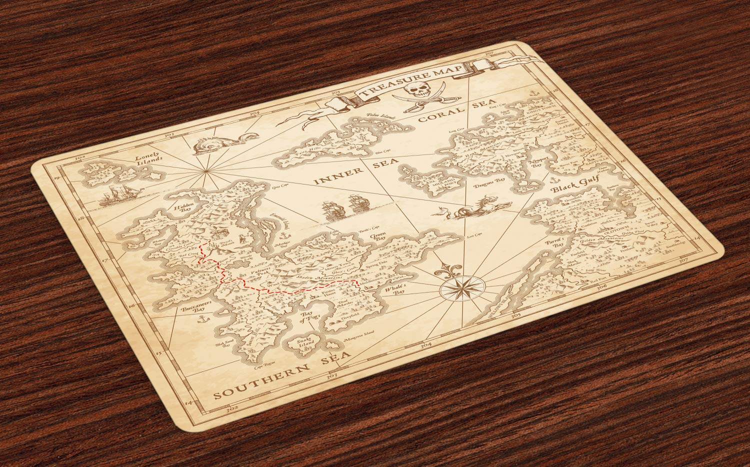 Ambesonne Map Place Mats Set of 4, Highly Detailed Ancient Grunge Treasure Map Adventure Sailing Island Journey Travel, Washable Fabric Placemats for Dining Room Kitchen Table Decor, Sand Brown