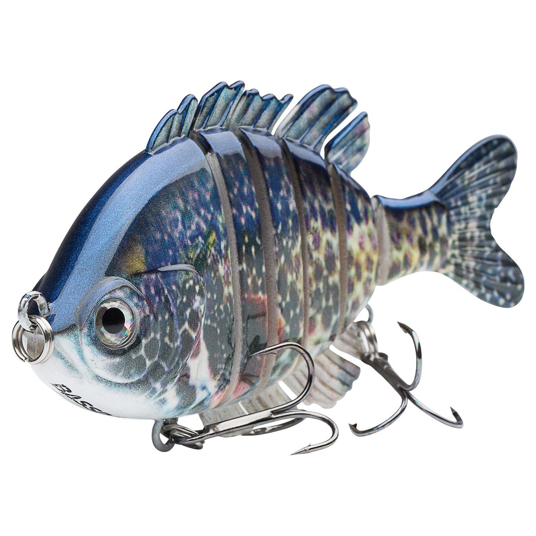 Bassdash SwimPanfish Multi Jointed Panfish Bluegill Swimbaits Topwater Hard Bass Fishing Crank Lure 3.5in/0.85oz, 4 Colors (Pumpkinseed) by Bassdash