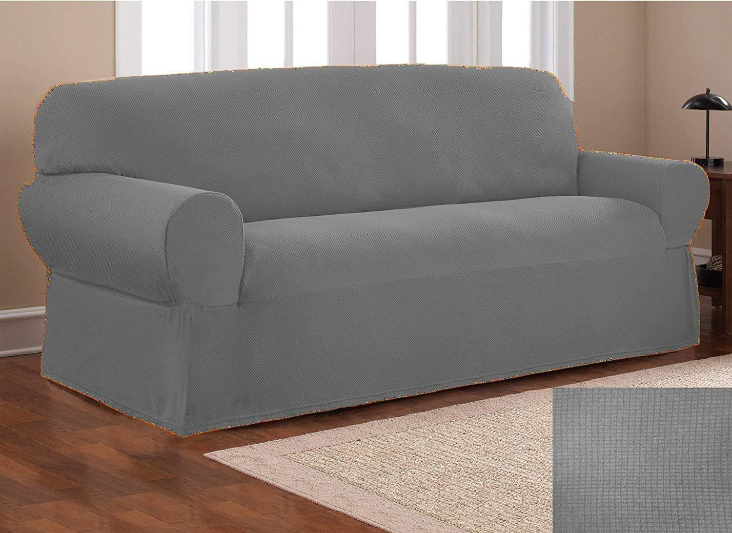 Fancy Collection Sure Fit Stretch Fabric Sofa Slipcover Sofa And Love Seat Covers Solid New #Stella (Light Grey, 2 pc Set)