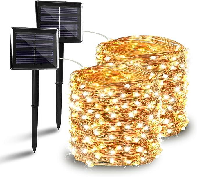 BHCLIGHT 2 Pack Solar String Lights