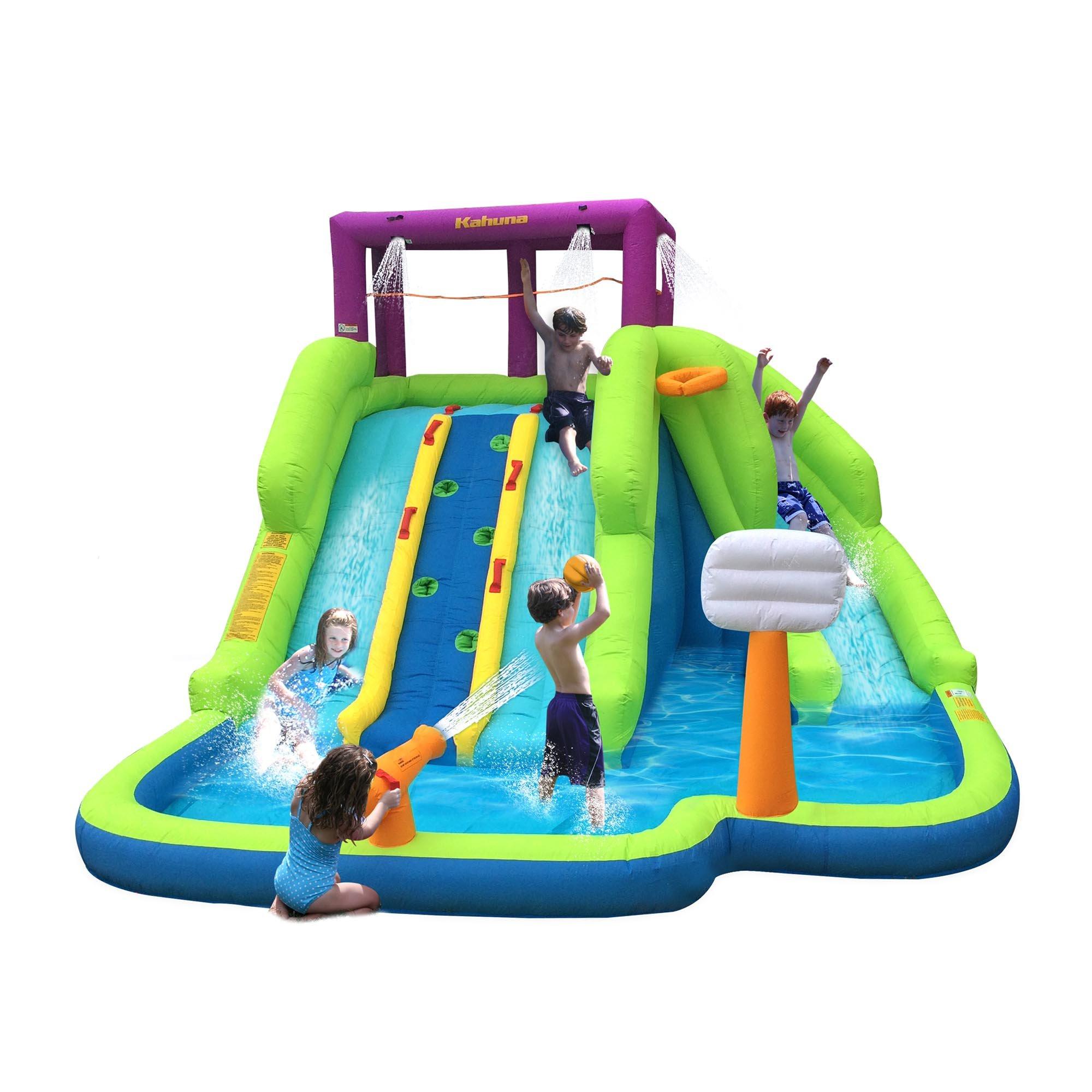 Magic Time Triple Blast Kids Outdoor Inflatable Splash Pool Backyard Water Slide