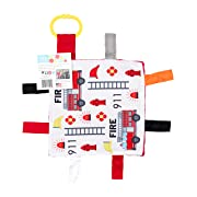 Baby Sensory Crinkle & Teething Square Lovey Toy with Closed Ribbon Tags for Increased Stimulation: 8 X8  (Firefighter)