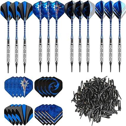 GWHOLE 12 Dardos (18G) para Diana Electrónica, con 16 Plumas y 200 Dardo Suave Punta Puntos: Amazon.es: Deportes y aire libre