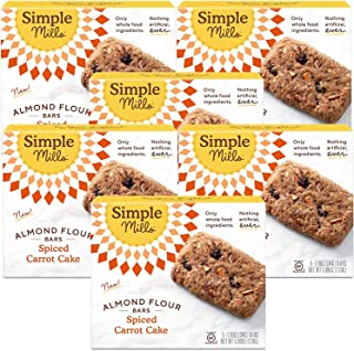 product image for Simple Mills Almond Flour Snack Bars (Spiced Carrot Cake) with Organic Coconut Oil, Chia Seeds, Sunflower Seeds, and Flax Seeds, Good for Snacks, 5 Count (Pack of 6) (Packaging May Vary)