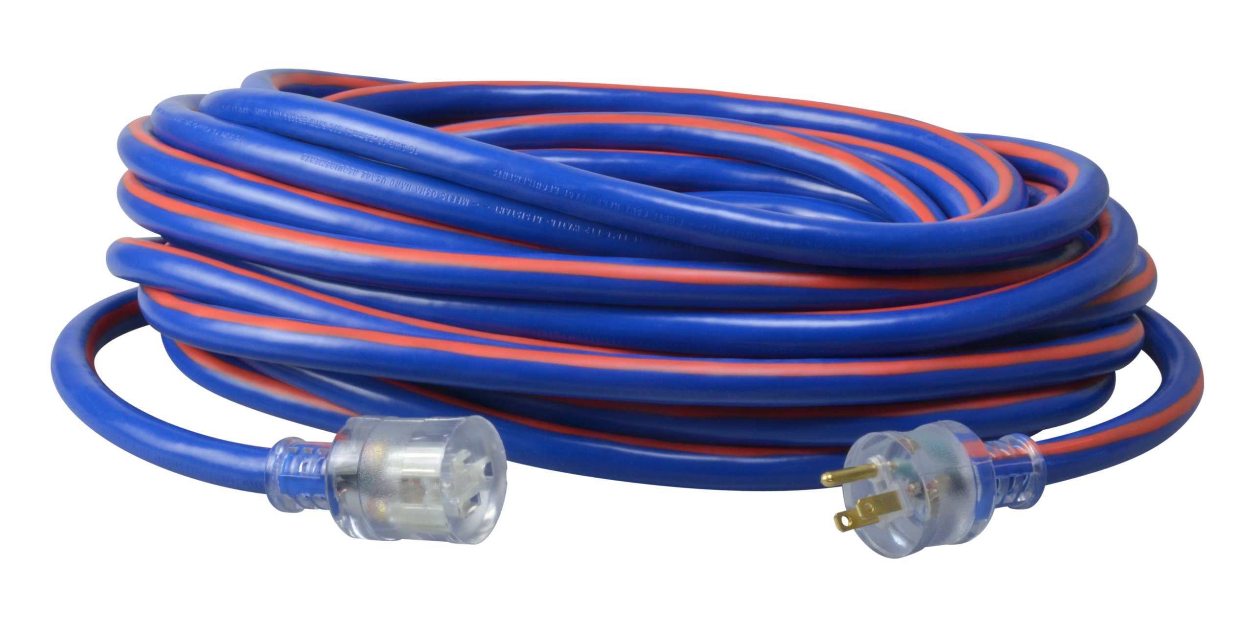 Coleman Cable 02649-00-64 100-Feet 10/3-Wire Gauge Neon Stripe Outdoor Extension Cord with Lighted Ends, Blue/Red