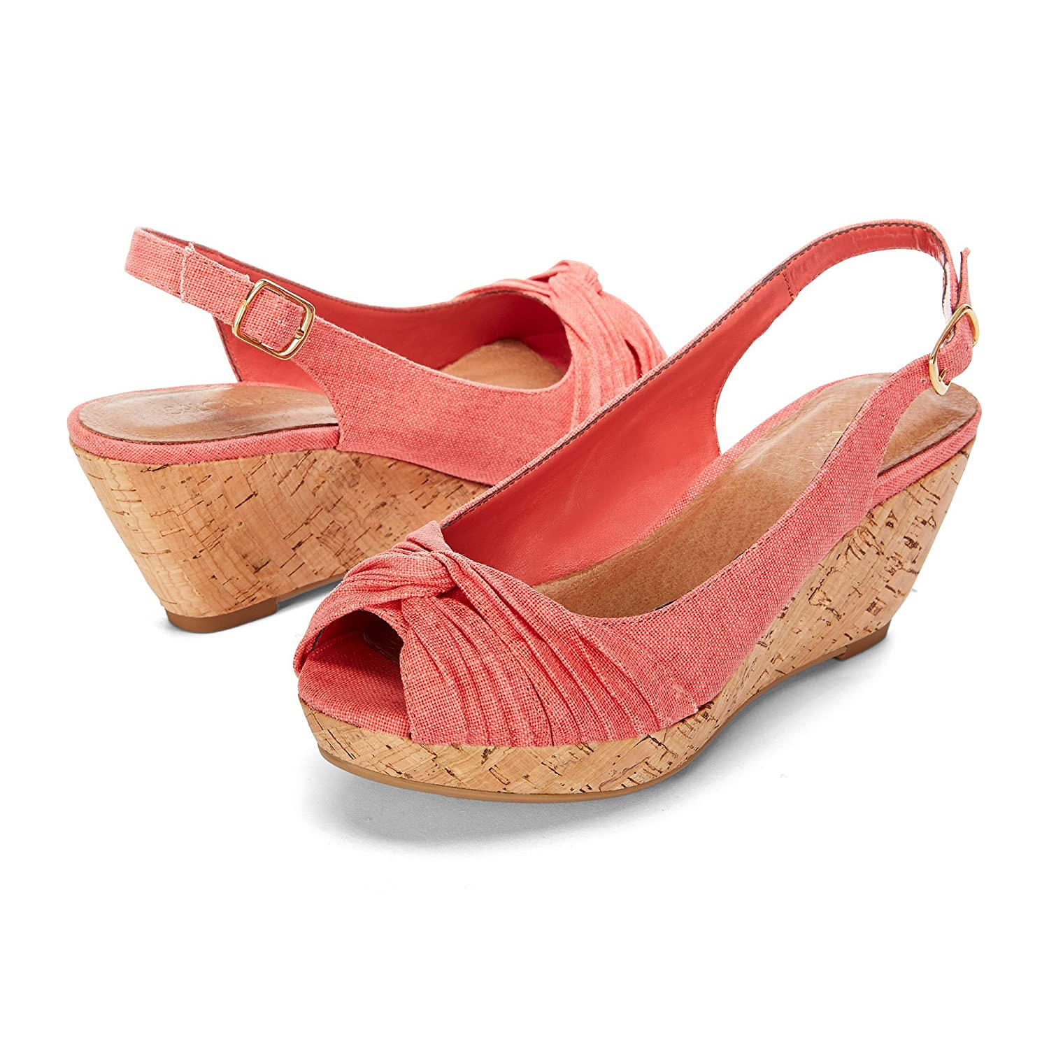 Yellow Shoes Deluxe Womens Wedge Sandals - Casual & Comfortable & Fashion - Made from Genuine Cork with Memory Foam - Perfect for Summer