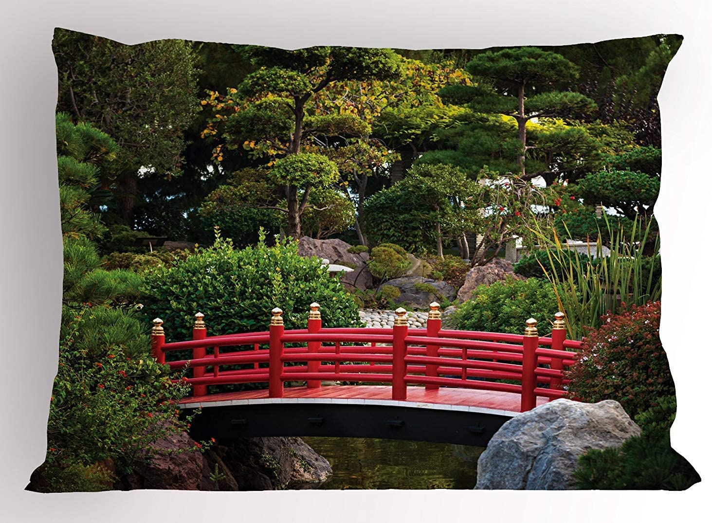 Amazon Com K0k2t0 Japanese Pillow Sham Bridge Over Pond In