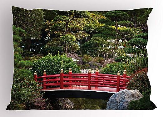 Ytavv Japanese Pillow Sham, Bridge Over Pond in Japanese ...