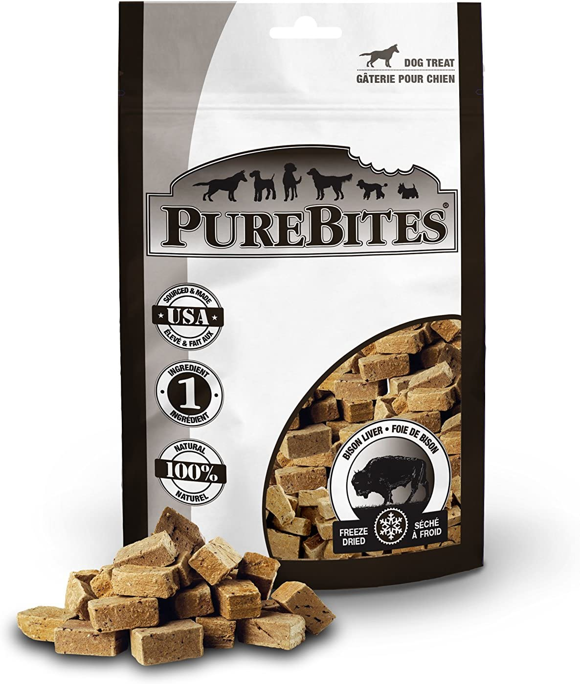 Purebites Bison Liver For Dogs, 2.6Oz 74G – Mid Size, 24 Pack