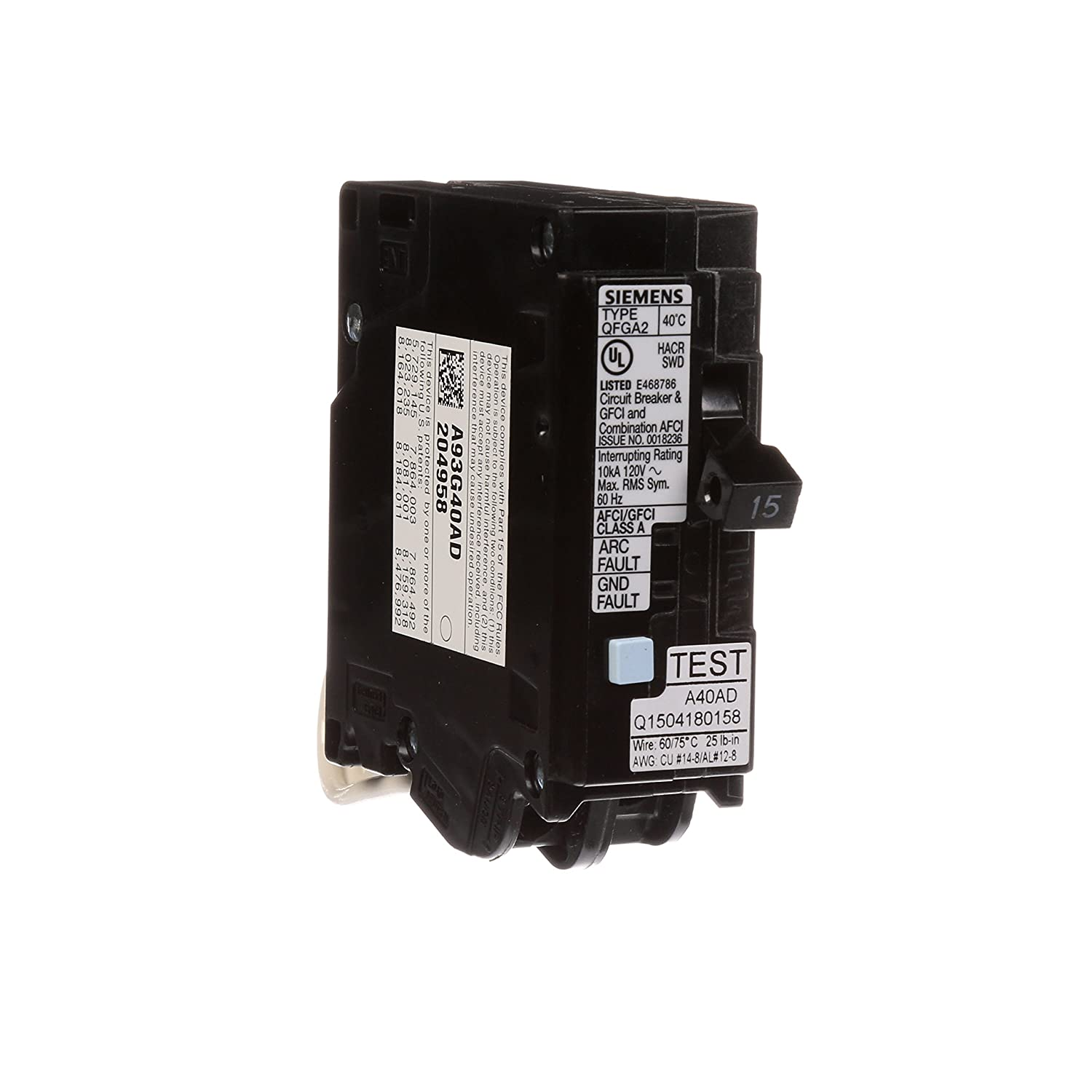Siemens Q115df 15 Amp Afci Gfci Dual Function Circuit Breaker Plug Light Switch Home Wiring Diagram On Load Center Style