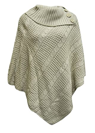 New Ladies Womens Cable Knitted Poncho Sweater Jumper Top Uk Plus