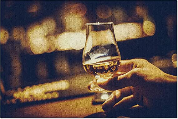 Hand Holding a Glencairn Single Malt Whisky Glass in a Bar with Cozy Ambience 9013831 (Premium 1000 Piece Jigsaw Puzzle for Adults