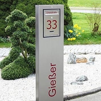 Edelstahl Briefkastensäule Standbriefkasten mit Hausnummer ...