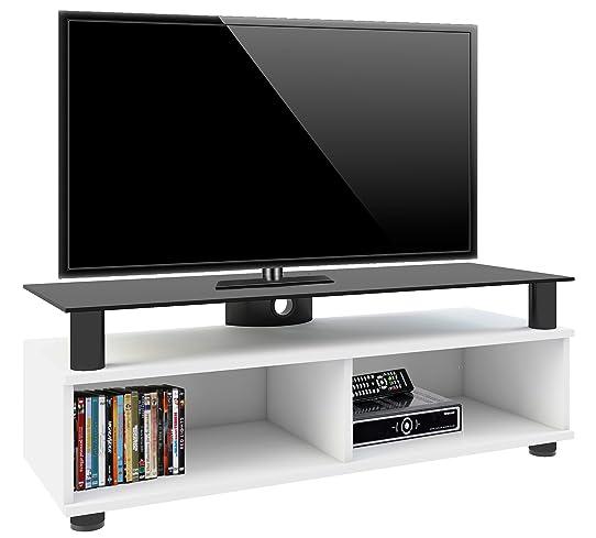 vcm 14230 clunis meuble tv roulettes incluses mdfaluminiumverre laqu blancnoir - Meuble Tv Blanc Sur Roulettes