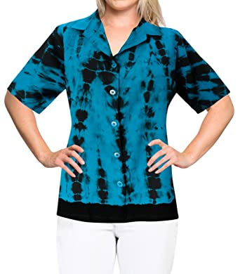 bd4f168487d94 LA LEELA Rayon Short Sleeve Blouse Cruise Shirt Teal Blue