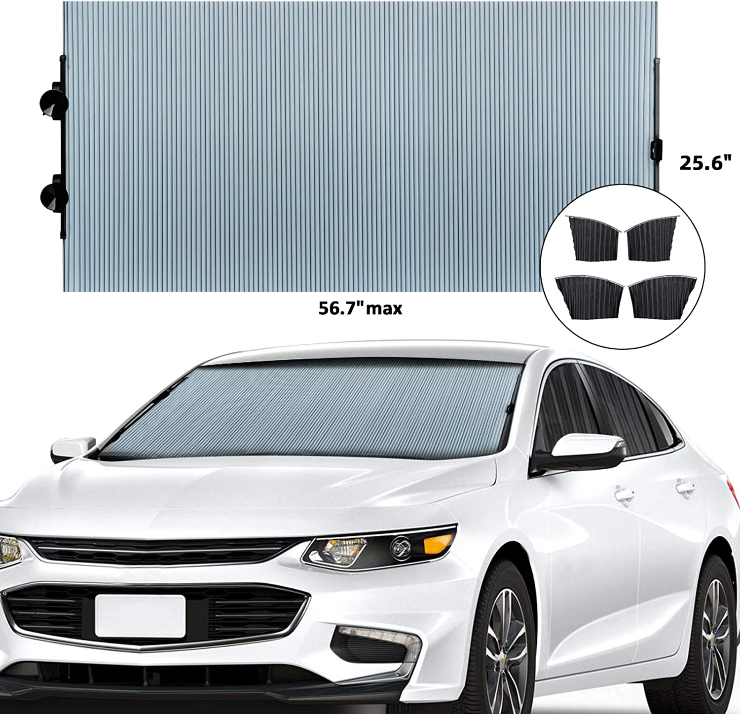 EcoNour Retractable Car Windshield Sunshade Fits Various Models with Suction Cups Blocks UV Rays Sun Visor Protector Universal Sunshade to Keep Your Vehicle Cool and Damage Free