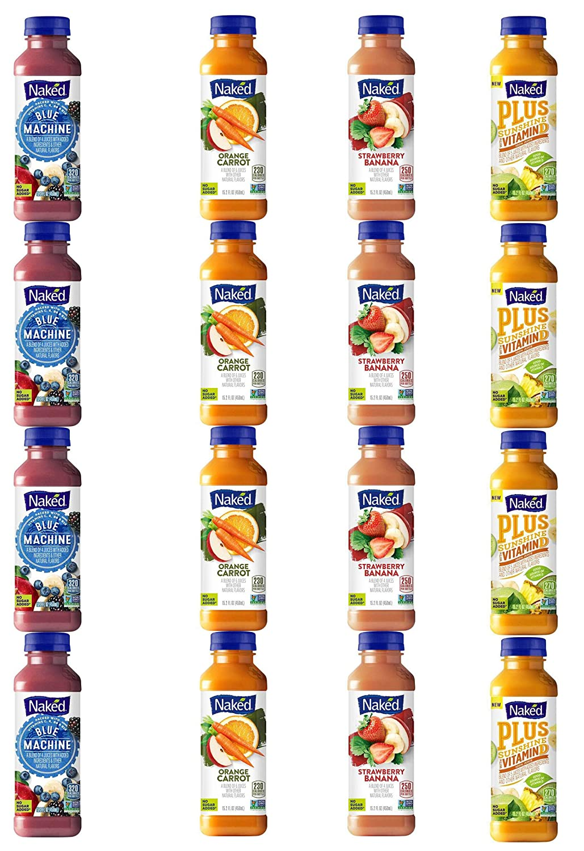 LUV BOX - Variety Naked Juice Pack 15.2oz Plastic Bottle, 16 Per Case ,Blue Machine ,Strawberry Banana ,Plus Sunshine with Vitamin D ,Orange Carrot