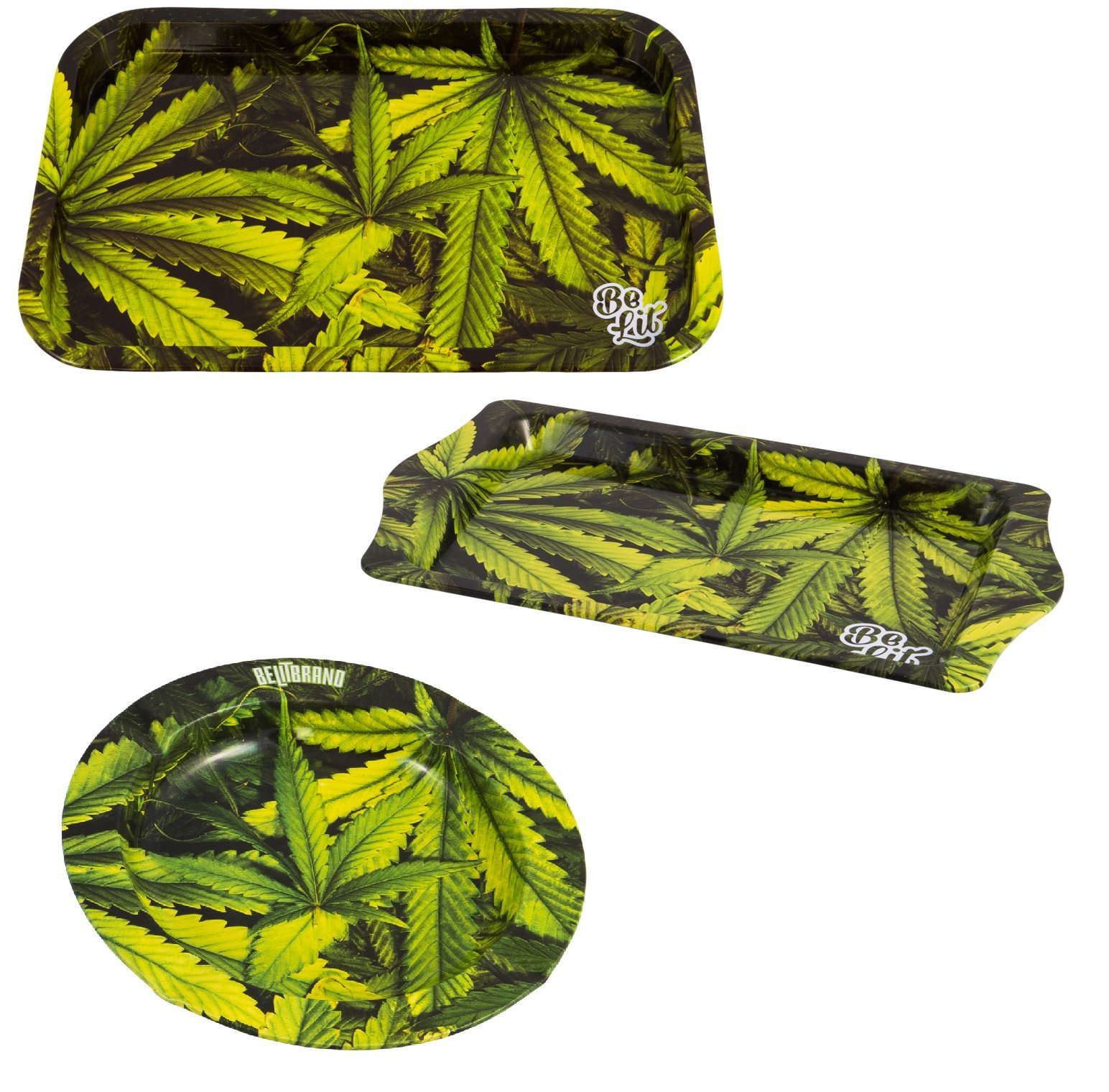 BE LIT BRAND ROLLING TRAYS (LEAFY BUNDLE- 1 MEDIUM, 1 TRAVEL, 1 ASHTRAY)