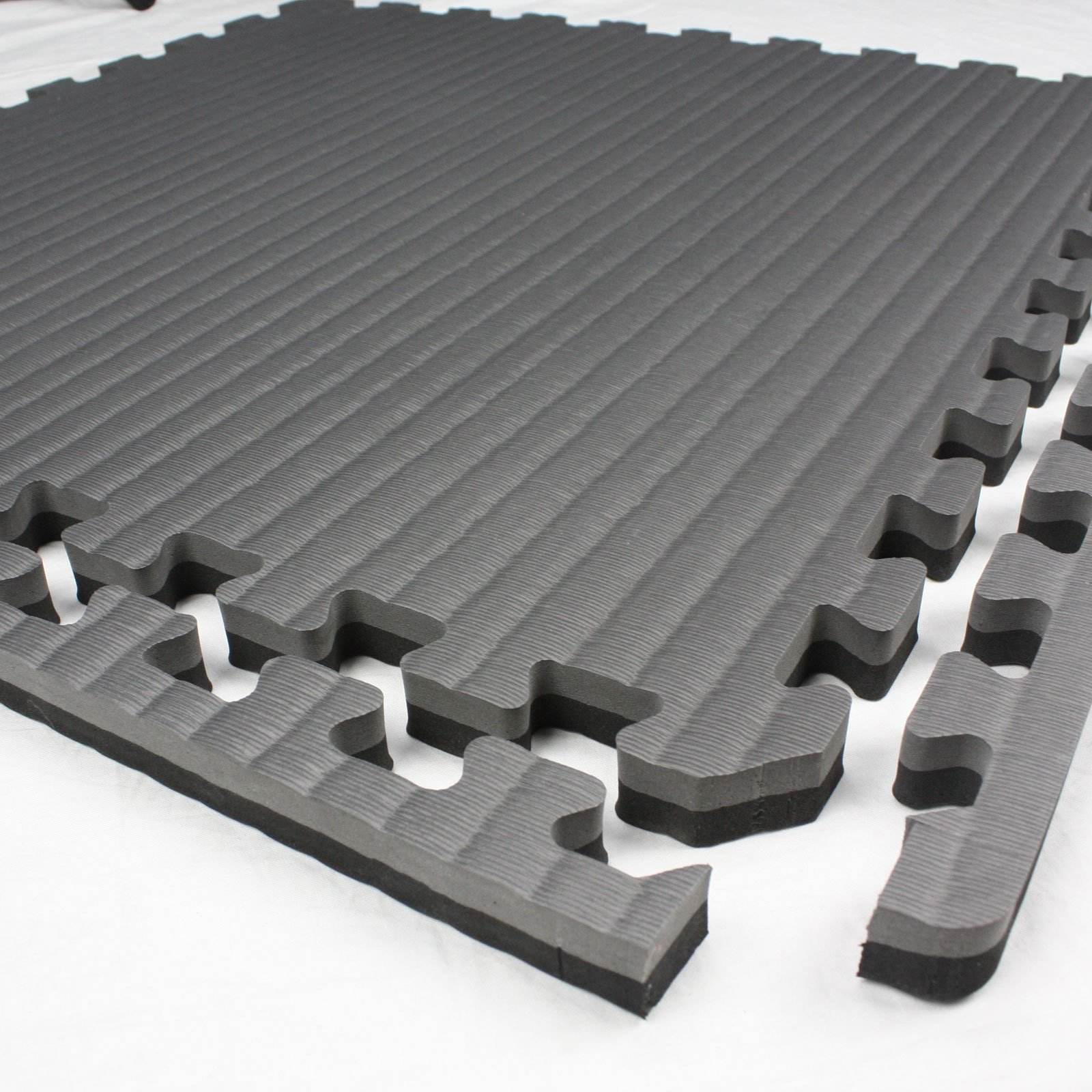 IncStores - Tatami Foam Tiles (Black/Grey, 16 Tiles) - Extra Thick mats Perfect for Martial Arts, MMA, Lightweight Home Gyms, p90x, Gymnastics, Yoga, Cardio, Aerobic, and Exercises by IncStores (Image #2)
