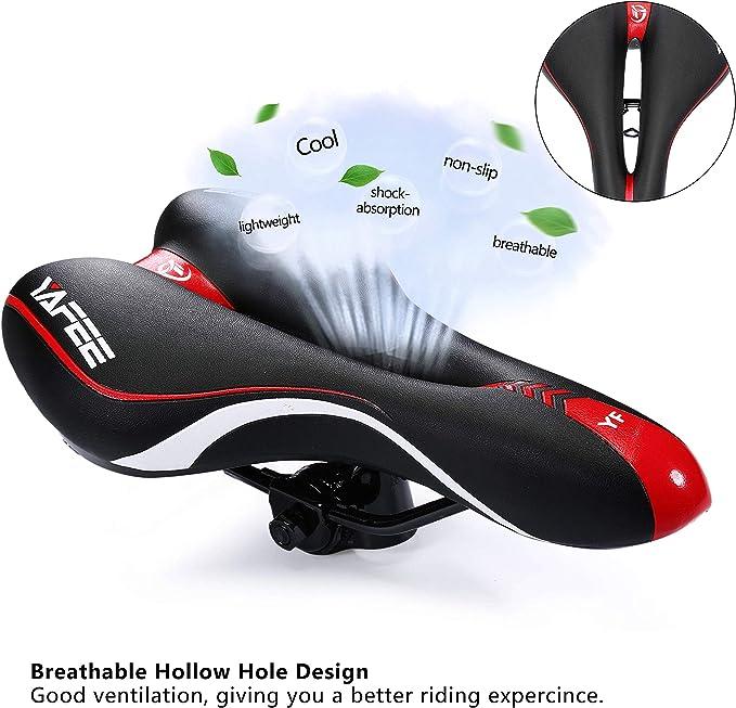 Enjohos Fahrradsattel Fahrradsitz Wasserdicht Pu Für Mountainbike Trekking Tourensattel Rennrad Rot Sport Freizeit