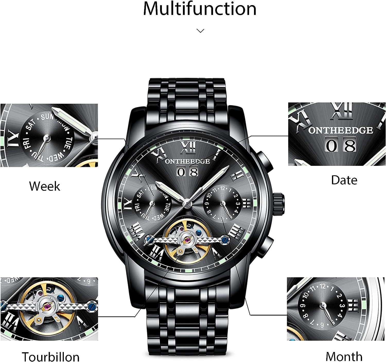 RORIOS Mode Automatique Mécanique Homme Montres Bracelet Calendrier Lumineux Acier Inoxydable Étanche Multifonction Tourbillon Montres Noir B