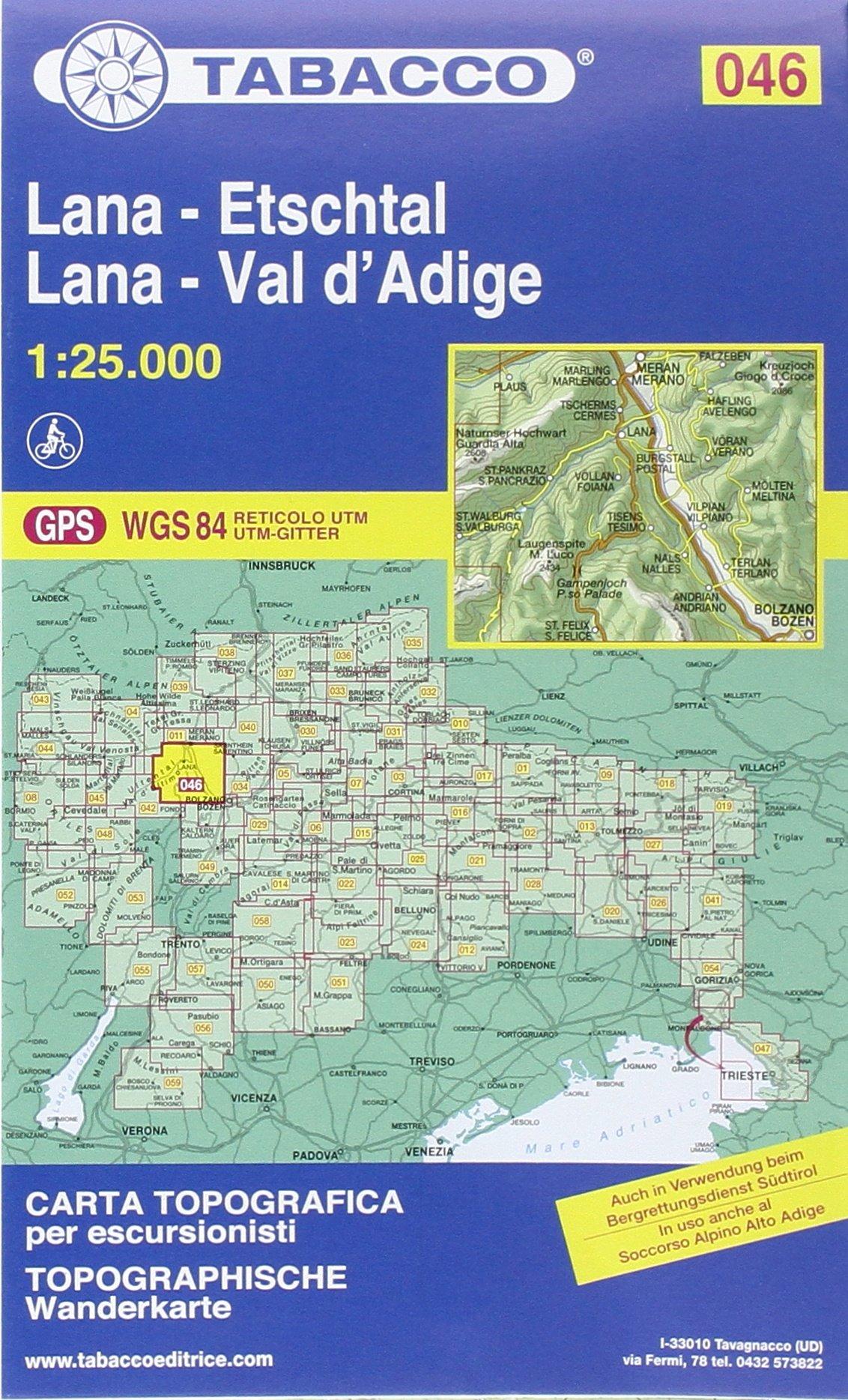 Lana, Etschtal: Wanderkarte Tabacco 046. 1:25000 (Cartes Topograh)